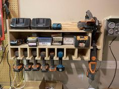 Is your workbench a mess with drills, chargers, batteries, screws? This is a per… – Garage Organization DIY Power Tool Storage, Garage Tool Storage, Garage Tools, Power Tools, Garage Signs, Garage Shop, Car Garage, Garage Systems, Small Garage