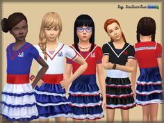 Dress for girls in the marine style. Installed autonomously a new mesh, 4 coloring options  Found in TSR Category 'sims 4 Female Child Everyday'