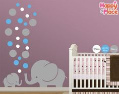 Modern Nursery Wall Decal, Large Wall decal, Elephant with Polka Dots Wall Mural, Elegant Nursery Decoration for Your Newborn Baby. Large Wall Decals, Nursery Wall Decals, Wall Murals, Nursery Decor, Nursery Themes, Nursery Prints, Nursery Ideas, Small Elephant, Elephant Nursery