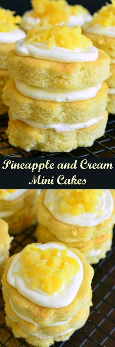 Mini Pineapple Cakes with Silky Cream Cheese Frosting. Soft, moist pineapple cake made with fluffy cream cheese frosting and served as layered mini cakes.