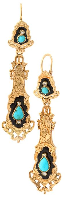 Romantic French Enamel, Turquoise and Diamond Day Night Earrings, circa 1870