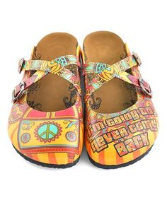 86c8a6134013 Love this Yellow  amp  Red Peace Sign Cross-Strap Mule by Calceo on