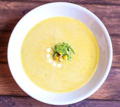Grilled Corn Soup.This soup is creamy, sweet and smoky. Corn and scallions are rubbed in butter and chipotle chili powder, grilled, pureed and blended with chicken broth and cream. Serve with lime for some added brightness.