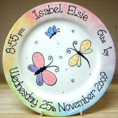 Personalised Ceramic Baby Girl Butterfly Plate Gift
