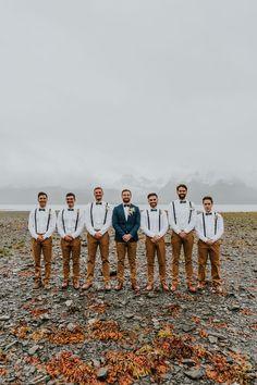 Casual Groomsmen Attire, Groomsmen Attire Beach Wedding, Casual Wedding Reception, Bridesmaids And Groomsmen, Groom Attire Rustic, Groomsman Attire, Rainy Wedding, Burnt Orange Weddings, Alaska Wedding