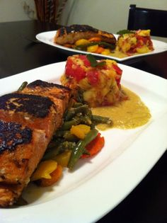 Seared Salmon and mango Salsa, Ginger Sauce