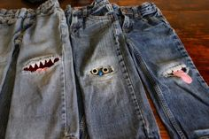 Freestyle monster patches for pants. LOVE this!!! You can add eyes, arms, antennae, etc. Just Google monster knee patches for lots of ideas.