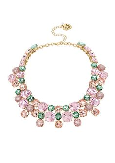 Collar necklaces are all the rage this season and this mixed stone accessory by Betsey Johnson is waiting to be added to your collection. This piece will instantly make a bold fashion statement that everyone is sure to love.