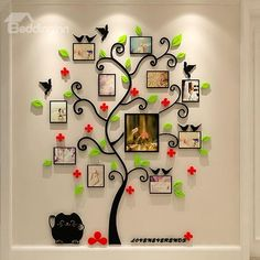 Tree Red Flowers and Birds Acrylic 10 Photo Frames Waterproof Wall Stickers