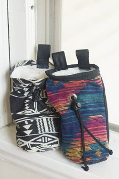 Rock Climbing Chalk Bag Made from Vintage Fabric. for future chalk bag buying!