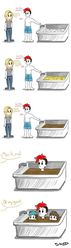 Markiplier Bath-time Old comic from old account——> honestly amy has probably seen some really weird shit<<< true Pewdiepie, Markiplier Memes, Mark And Ethan, Jack And Mark, Old Comics, Funny Comics, Ja Gay, Memento Mori, The Blue Boy