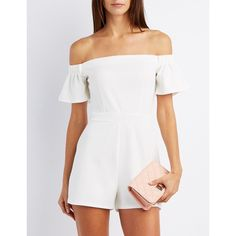 Charlotte Russe Fitted Off-The-Shoulder Romper ($29) ❤ liked on Polyvore featuring jumpsuits, rompers, white, off the shoulder romper, charlotte russe romper, short sleeve romper, off shoulder romper and playsuit romper