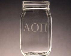 Alpha Omicron Pi, AOPi, AOII mug mason jar. Great for gifts, crafting, sorority events (big little), and more!