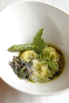 Ravioli with morels & spring vegetables