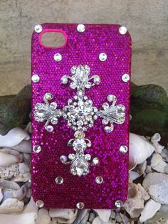 Fuchsia pink glitter iPhone 4/4s case with cross by Kianaskases, $42.00