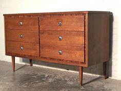 BASSETT Mid-Century Modern 6-Drawer Walnut Dresser / Credenza / Buffet - Great Mad Men / Eames Era Decor