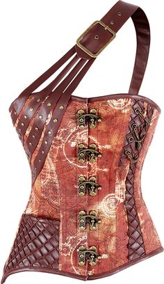 New fave! Gimme some scales, especially with that one shoulder strap! The Violet Vixen - DragonStone Steampunk Brown Corset, $135.00 (http://thevioletvixen.com/corsets/dragonstone-steampunk-brown-corset/)