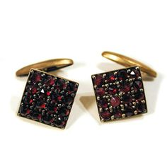 Circa early 1900s Bohemian Garnet Cuff Links by MisterBibs on Etsy