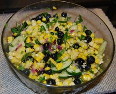 ***SALAD*** Summer Corn & Blueberry Salad Nutrition Info Serving Size: 1 (141 g)  Servings Per Recipe: 6  AMOUNT PER SERVING% DAILY VALUECalories 154.8 Calories from Fat 51 33%Total Fat 5.8 g 8%Saturated Fat 0.8 g 4%Cholesterol 0 mg 0%Sodium 209.8 mg 8%Total Carbohydrate 26.7 g 8%Dietary Fiber 3.5 g 14%Sugars 9.5 g 38%Protein 3.6 g 7% >> SLOtility.com