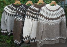 nelja_islantilaisvillapaitaa-warm wool for winter Icelandic Sweaters, Cozy Sweaters, Free Knitting, Knitting Patterns, Nordic Sweater, Stylish Dresses For Girls, Crochet Poncho, Knitwear, Wool
