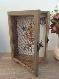 £15.95 Shabby Chic Wooden Key Holder Cabinet | eBay