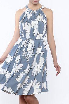 f97b1e3dc4c36 Powder blue floral dress with a high neckline, waist tie sash and a button  back. Shoptiques