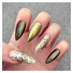 olive green cateye and gold glitter nails by @lollipopzinails Fun... ❤ liked on Polyvore featuring beauty products, nail care and nail treatments