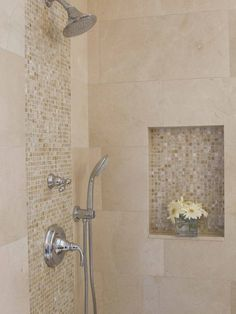 Bathroom Designs: Minimalist Bathroom Metalic Head Shower Small Flower Vase Shower Tile Ideas, Spacious Villa, Elegant Taste ~ Gnibo.com