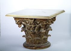 Gold Painted Corinthian Column Wood Table