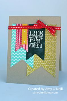 chalkboard using stampin up perfect pennants stamp set