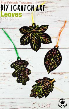 DIY SCRATCH ART LEAVES are gorgeous! This Fall craft is easy to make with our free printable templates and so colourful and vibrant! A lovely leaf art idea for Fall and Thanksgiving. Autumn Activities For Kids, Fall Crafts For Kids, Art For Kids, Kids Crafts, Preschool Arts And Crafts, Creative Arts And Crafts, Creative Kids, Autumn Crafts, Autumn Art