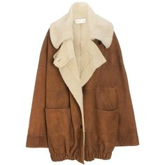 Wunderkind Oversized Tan Shearling Coat (7 655 PLN) ❤ liked on Polyvore featuring outerwear, coats, jackets, tops, brown, tan coat, shearling coat, collar coat, brown coat and button coat