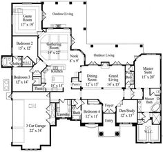 floorplan - love the location of the game room off the family room for a playroom. Bedrooms are separated nicely, like the formal combo, would add a basement or 2nd floor for media and office suite