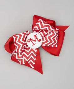 Love this Red Chevron Initial Bow Clip by Picture Perfect Hair Bows on #zulily! #zulilyfinds