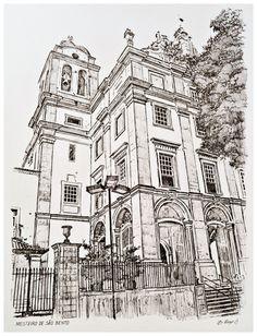 """""""MOSTEIRO DE SÃO BENTO"""". Técnica: bico de pena s/ papel 180g/m², tamanho 38X28cm."""
