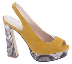Sandale platforma - Sandale galbene cu platforma MG118-4G - Zibra Heels, Fashion, Heel, Moda, Fashion Styles, Shoes Heels, Fashion Illustrations, High Heel, High Heels