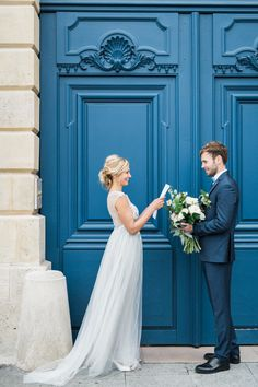 A Lovely Paris Elopement - Once Wed.  #elopementweddings #blueweddings #destinationweddings