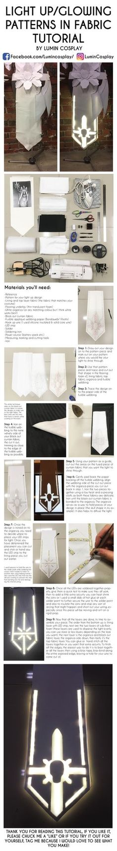 Cosplay light up pattern on fabric tutorial by LuminCosplay