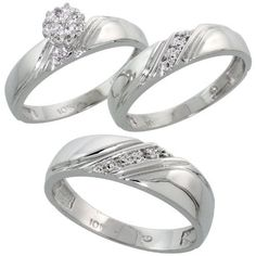 10k White Gold Diamond Trio Engagement Wedding Ring Set for Him and Her 3-piece 6 mm  4.5 mm wide 0.10 cttw Brilliant Cut, ladies sizes 5 - 10, mens sizes 8 - 14 Gabriella Gold. $629.57