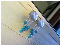 Cloud with blue rain earrings 925 sterling silver by LaLaCrystal, $19.50