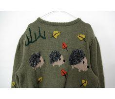 Vintage sweater / cutest hand knit autumnal hedgehogs cardigan by nemres