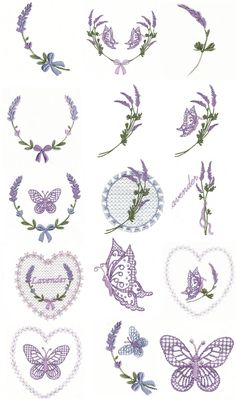 Lavender & Butterflies (4x4 to 5x7) | Embroidery Delight | Your source for all embroidery designs, Applique, Quilt Blocks, Animal, Floral, Lacework, etc.