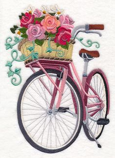 Basket of Blooms Bicycle design (M11659) from www.Emblibrary.com
