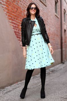 What I Wore: Leader of the Pack  whatiwore.tumblr.com #polkadots #leatherjacket