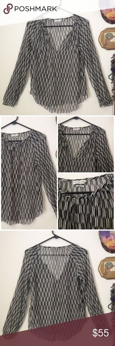 🆕Flowy sheer silk chevron print peasant blouse Gorgeous sheer zig zig chevron print silk peasant top from Isabel Marant. Keyhole at neck, with hook and eye closure can be worn open for a v-neck look or closed. Sheer silk fabric is clean and classic looking. Long sleeves with elasticized cuffs. Excellent condition except for small area of fraying at hem (see 4th picture) which could easily be repaired by an experienced seamstress. Size 38 is comparable to a U.S. Size 4 or size Small Isabel…