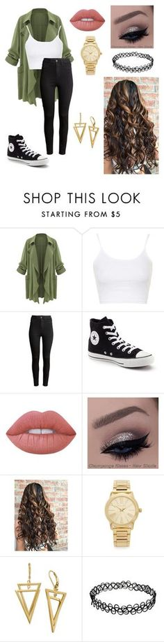 """""""Untitled #65"""" by paigevjacobs on Polyvore featuring Topshop, H&M, Converse, Lime Crime and Michael Kors"""
