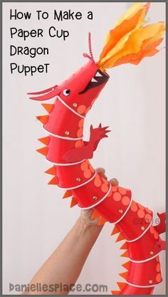 """Dragon Paper Cup Puppet Craft with """"View it and Do it"""" Step by Step Video from http://www.daniellesplace.com ©️2016"""