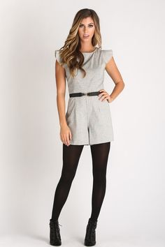 Gray, romper, holiday outfit ideas, work casual, simple and easy to wear outfits