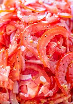 Absolutely scrumptious and so simple to make this Perfect Tomato Salad makes a great side dish to almost any meal. Save this fresh, healthy, low-calorie Uzbek tomato salad recipe, because you'll want to use it again and again! Tomato Salad Recipes, Veggie Recipes, Cooking Recipes, Healthy Recipes, Tomato Recipe, Tomato Pie, Cooking Ideas, Salad Bar, Side Salad