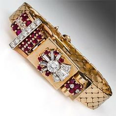 Vintage Retro Watch w/ Diamonds & Rubies in 14K Gold 1940's